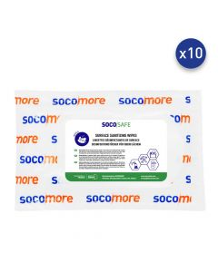 SURFACE CLEANING AND SANITIZING WIPES - 1 FLATPACK OF 24 WIPES (18X38 CM) - SOCOSAT SDS24